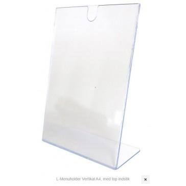 Akryl L-menukortholder - højformat - A4 indstik top