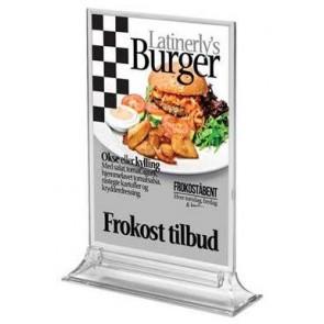 Dobbeltsidet menukortholder A6