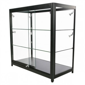 Showcase Counter, Duo - glasvitrine sort - LED lys